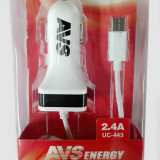 AVS USB автомобильное зарядное устройство 1 порт+ Type C  UC-443 (2,4А) (A78701S)