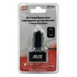 AVS USB автомобильное зарядное устройство 2 порта UC-523 (3А,черный) с вольтметром (A07444S)