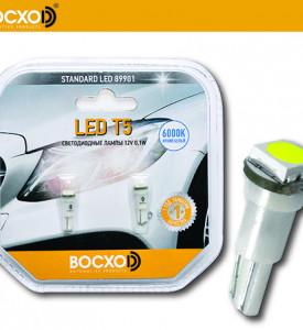 89901 0,1W 12V 10Lm W2x4.6d (аналог 1,2W) Standard (бл.2шт) BOCXOD Автолампа светодиодная LED